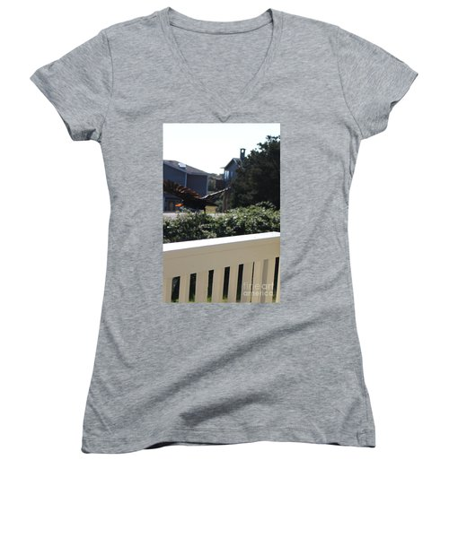 Women's V-Neck T-Shirt featuring the photograph Cheeto Bandido by Marie Neder
