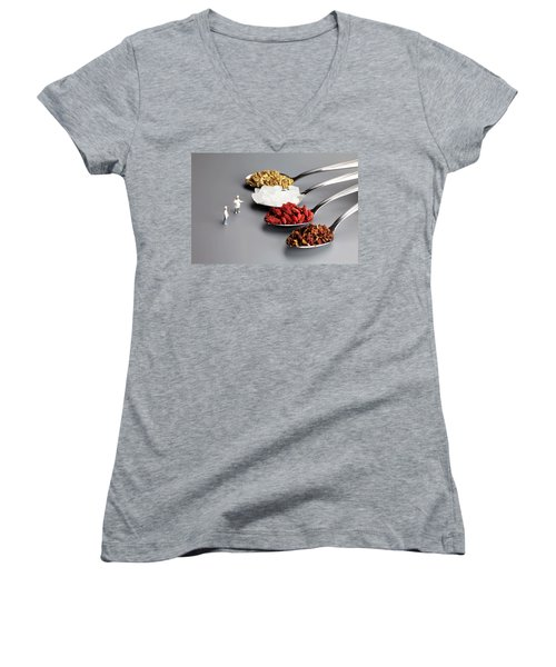 Chef Discussing Cooking Recipes Women's V-Neck T-Shirt (Junior Cut) by Paul Ge