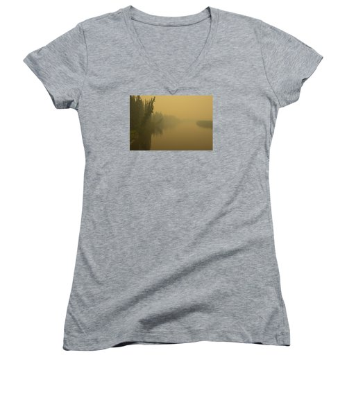 Women's V-Neck T-Shirt (Junior Cut) featuring the photograph Chena River by Gary Lengyel