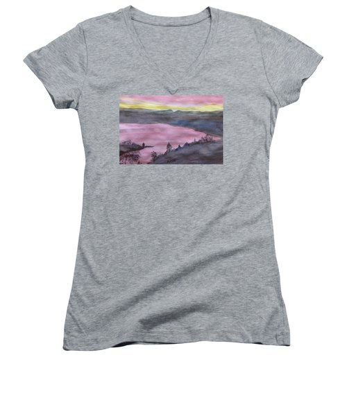 Women's V-Neck T-Shirt featuring the painting Cherokee Lake - Watercolor Sketch  by Joel Deutsch