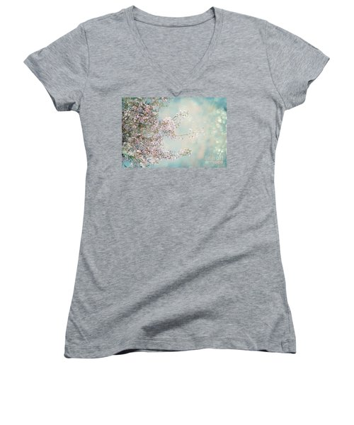 Women's V-Neck T-Shirt featuring the photograph Cherry Blossom Dreams by Linda Lees