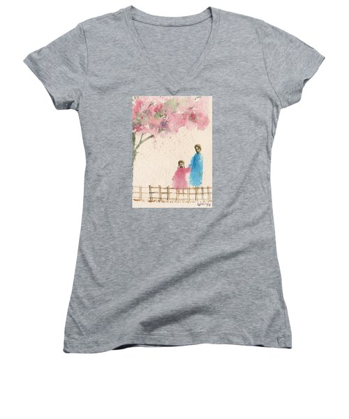 Cherry Blossom Tree Over The Bridge Women's V-Neck