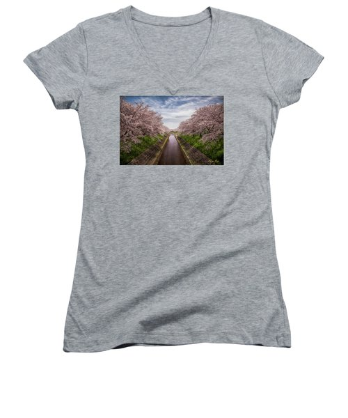 Women's V-Neck T-Shirt featuring the photograph Cherry Blossoms In Nara by Rikk Flohr