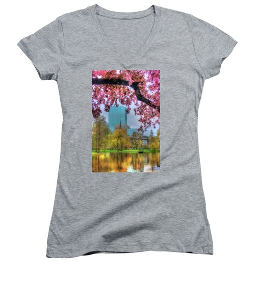Women's V-Neck T-Shirt (Junior Cut) featuring the photograph Cherry Blossoms Over Boston by Joann Vitali