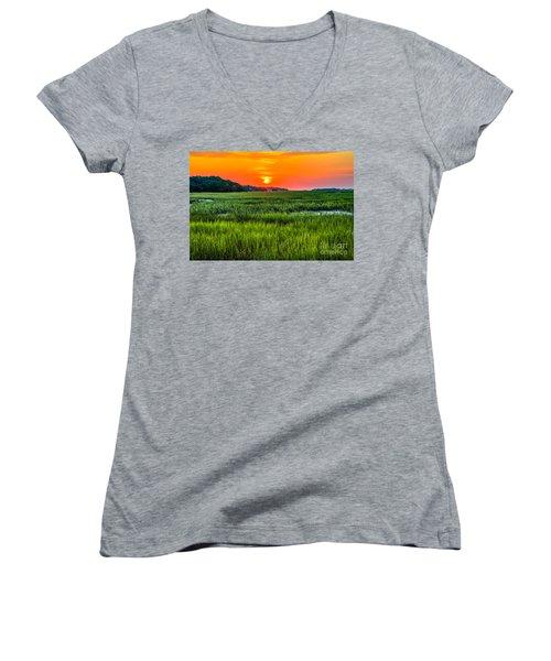 Cherry Grove Marsh Sunrise Women's V-Neck T-Shirt (Junior Cut) by David Smith