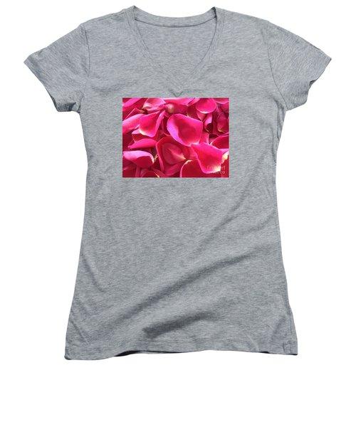 Cherry Pink Rose Petals Women's V-Neck (Athletic Fit)