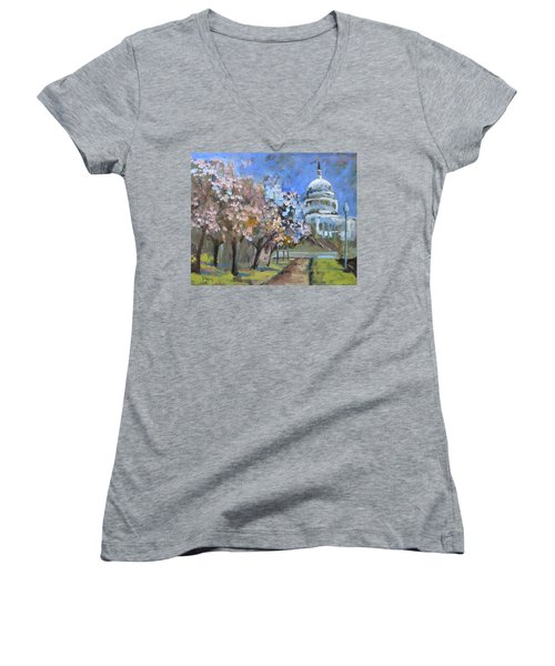 Cherry Tree Blossoms In Washington Dc Women's V-Neck (Athletic Fit)