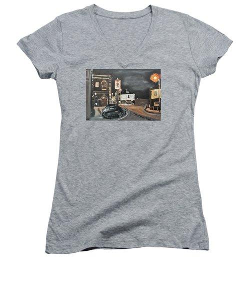 Chertsey At Night 1 Women's V-Neck T-Shirt (Junior Cut) by Carole Robins