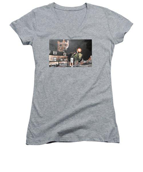 Chertsey At Night 2 Women's V-Neck T-Shirt (Junior Cut) by Carole Robins