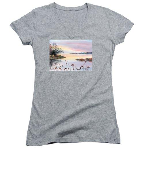 Women's V-Neck T-Shirt (Junior Cut) featuring the painting Chesapeake Bay Sunset by Yolanda Koh
