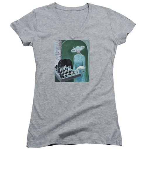 Chess - The Queen Waits Women's V-Neck T-Shirt