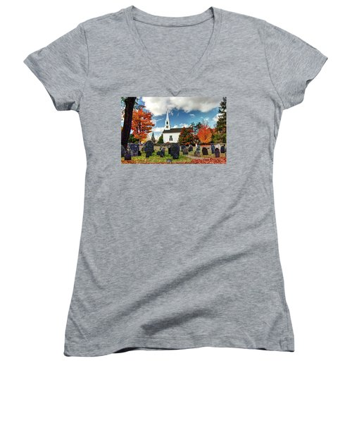 Chester Village Cemetery In Autumn Women's V-Neck