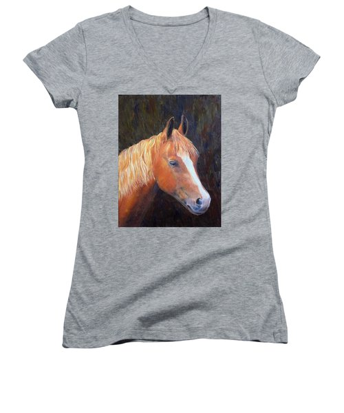 Women's V-Neck T-Shirt (Junior Cut) featuring the painting Chestnut by Elizabeth Lock