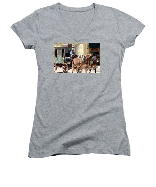 Chestnut Horses Pulling Carriage Women's V-Neck (Athletic Fit)