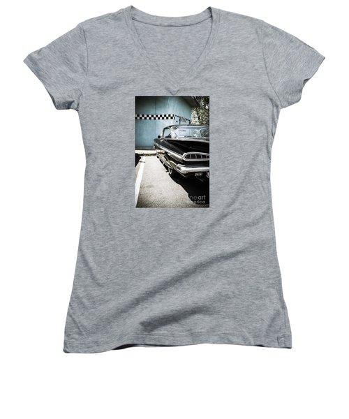 Chevrolet Impala In Front Of American Diner Women's V-Neck T-Shirt