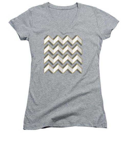 Chevrons - Gold Edges Women's V-Neck T-Shirt (Junior Cut) by Chuck Staley