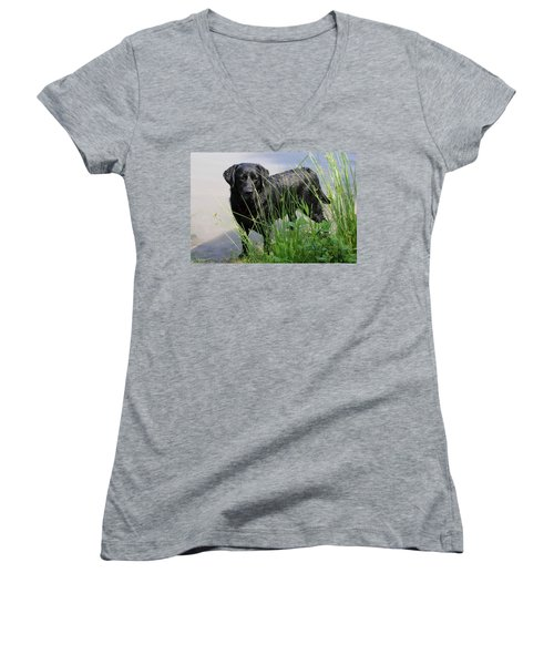 Women's V-Neck T-Shirt (Junior Cut) featuring the photograph Chicago 0121 by Guy Whiteley
