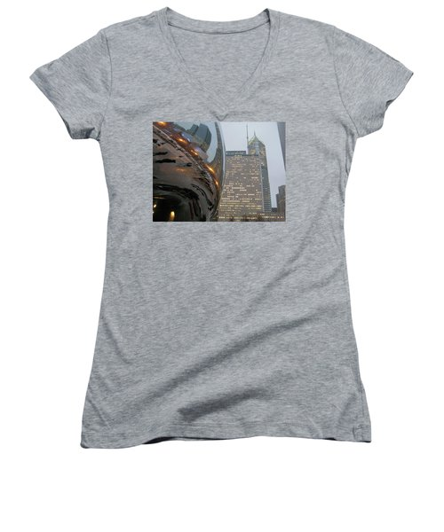 Women's V-Neck T-Shirt (Junior Cut) featuring the photograph Chicago Cloud Gate. Reflections by Ausra Huntington nee Paulauskaite
