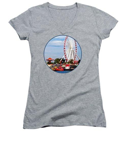 Chicago Il - Ferris Wheel At Navy Pier Women's V-Neck