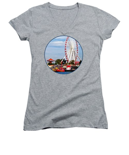 Chicago Il - Ferris Wheel At Navy Pier Women's V-Neck T-Shirt