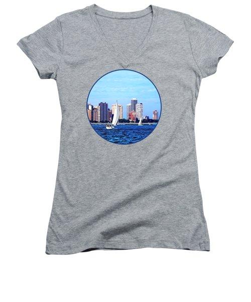 Chicago Il - Two Sailboats Against Chicago Skyline Women's V-Neck T-Shirt
