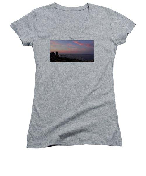 Chicago Lakefront At Sunset Women's V-Neck T-Shirt (Junior Cut) by Michael Bessler