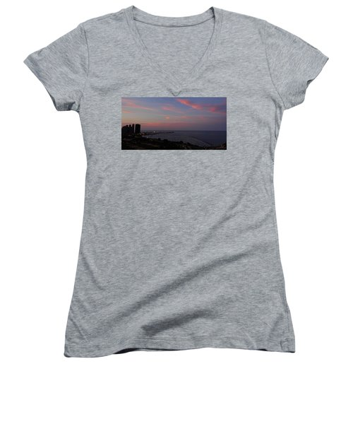 Chicago Lakefront At Sunset Women's V-Neck (Athletic Fit)