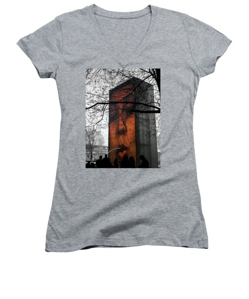 Chicago Love Women's V-Neck T-Shirt (Junior Cut) by Josy Cue