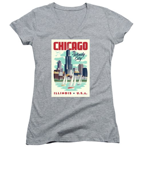 Chicago Retro Travel Poster Women's V-Neck T-Shirt (Junior Cut) by Jim Zahniser