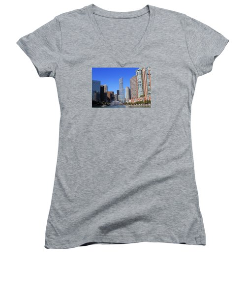 Women's V-Neck T-Shirt (Junior Cut) featuring the photograph Chicago River by Milena Ilieva