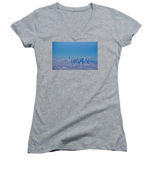 Women's V-Neck T-Shirt (Junior Cut) featuring the photograph Chicago Skyline Aerial View by Deborah Smolinske