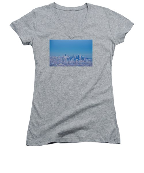 Chicago Skyline Aerial View Women's V-Neck (Athletic Fit)