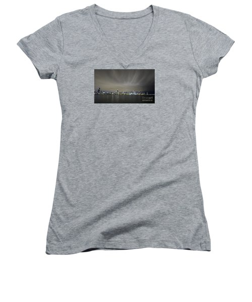 Women's V-Neck T-Shirt (Junior Cut) featuring the photograph Chicago Skyline At Night by Keith Kapple
