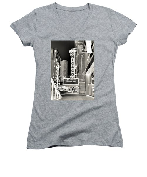 Chicago Theater - 2 Women's V-Neck T-Shirt (Junior Cut) by Ely Arsha