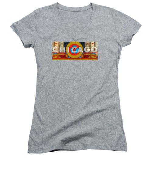 Chicago Theatre Sign Ver2 Dsc2176 Women's V-Neck T-Shirt (Junior Cut) by Raymond Kunst