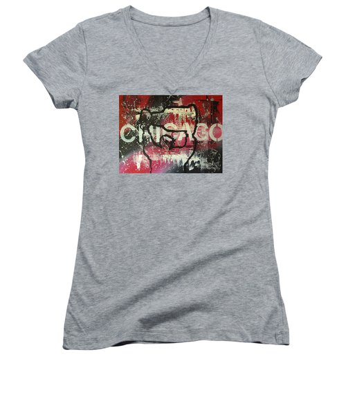 Chicago's Cup Women's V-Neck T-Shirt (Junior Cut) by Melissa Goodrich