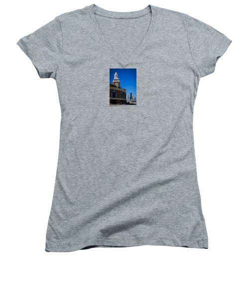Women's V-Neck T-Shirt (Junior Cut) featuring the photograph Chicago's Navy Pier by Kathleen Scanlan