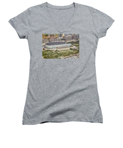Women's V-Neck T-Shirt (Junior Cut) featuring the photograph Chicago's Soldier Field Aerial by Adam Romanowicz