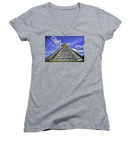 Chichen Itza, El Castillo Pyramid Women's V-Neck T-Shirt (Junior Cut) by Jason Moynihan