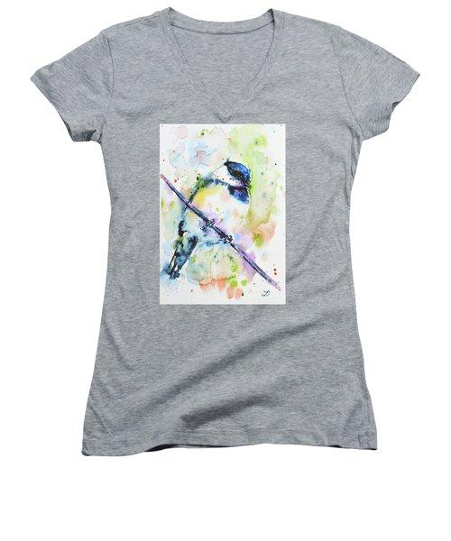 Women's V-Neck T-Shirt featuring the painting Chick-a-dee-dee-dee by Zaira Dzhaubaeva