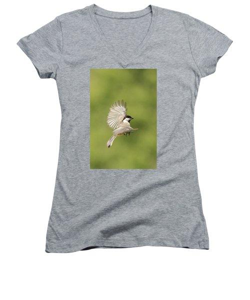 Chickadee In Flight Women's V-Neck T-Shirt (Junior Cut) by Alan Lenk