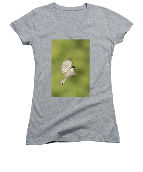 Chickadee In Flight Women's V-Neck (Athletic Fit)