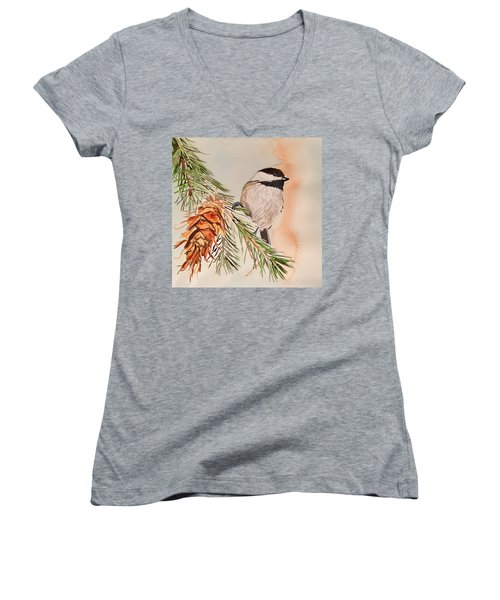 Chickadee In The Pine Women's V-Neck (Athletic Fit)