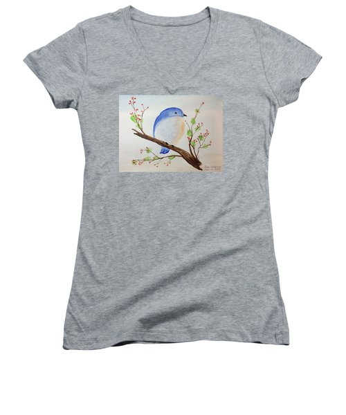Chickadee On A Branch With Leaves Women's V-Neck