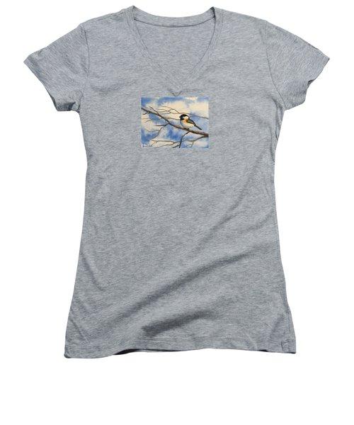 Chickadee On Branch Women's V-Neck T-Shirt (Junior Cut) by Brenda Bonfield