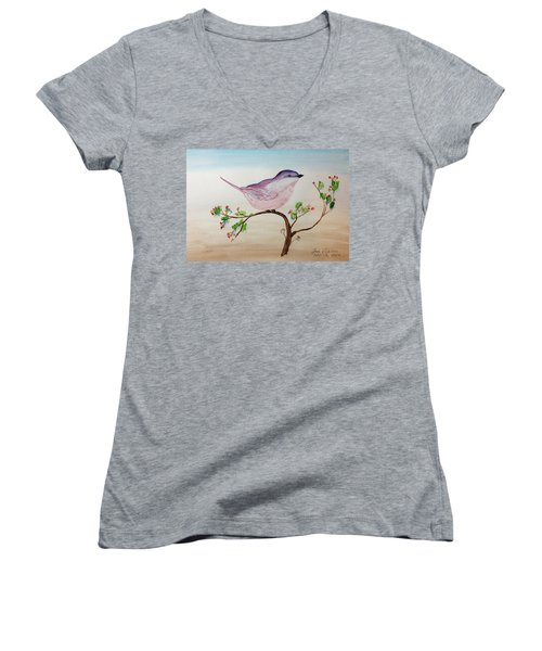 Chickadee Standing On A Branch Looking Women's V-Neck T-Shirt
