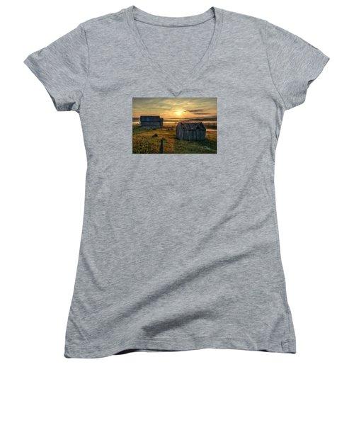 Chicken Creek Schoolhouse Women's V-Neck T-Shirt (Junior Cut) by Fiskr Larsen