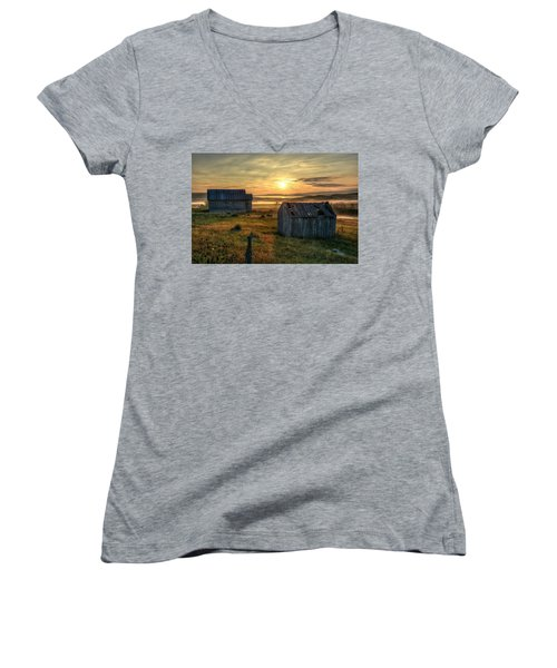 Women's V-Neck featuring the photograph Chicken Creek Schoolhouse by Fiskr Larsen