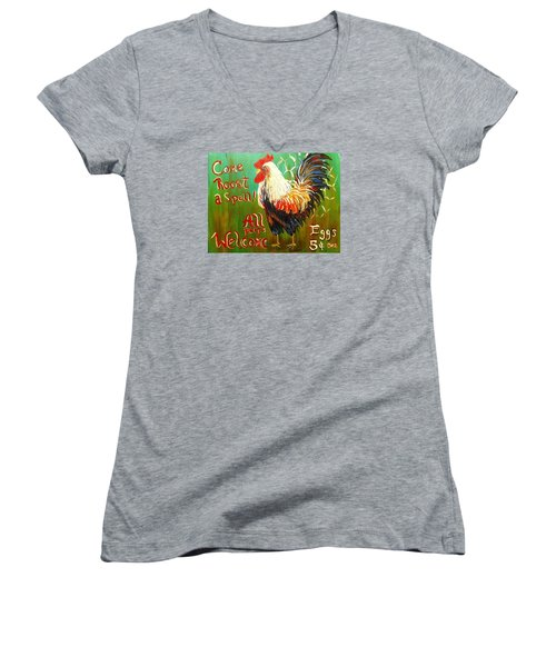 Chicken Welcome 3 Women's V-Neck (Athletic Fit)