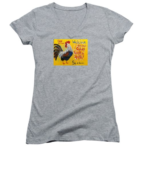Chicken Welcome Sign 7 Women's V-Neck (Athletic Fit)
